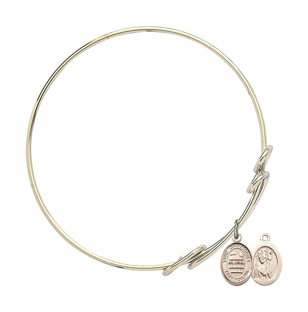 Christopher//Swimming in Gold-Filled Bonyak Jewelry Round Double Loop Bangle Bracelet w//St