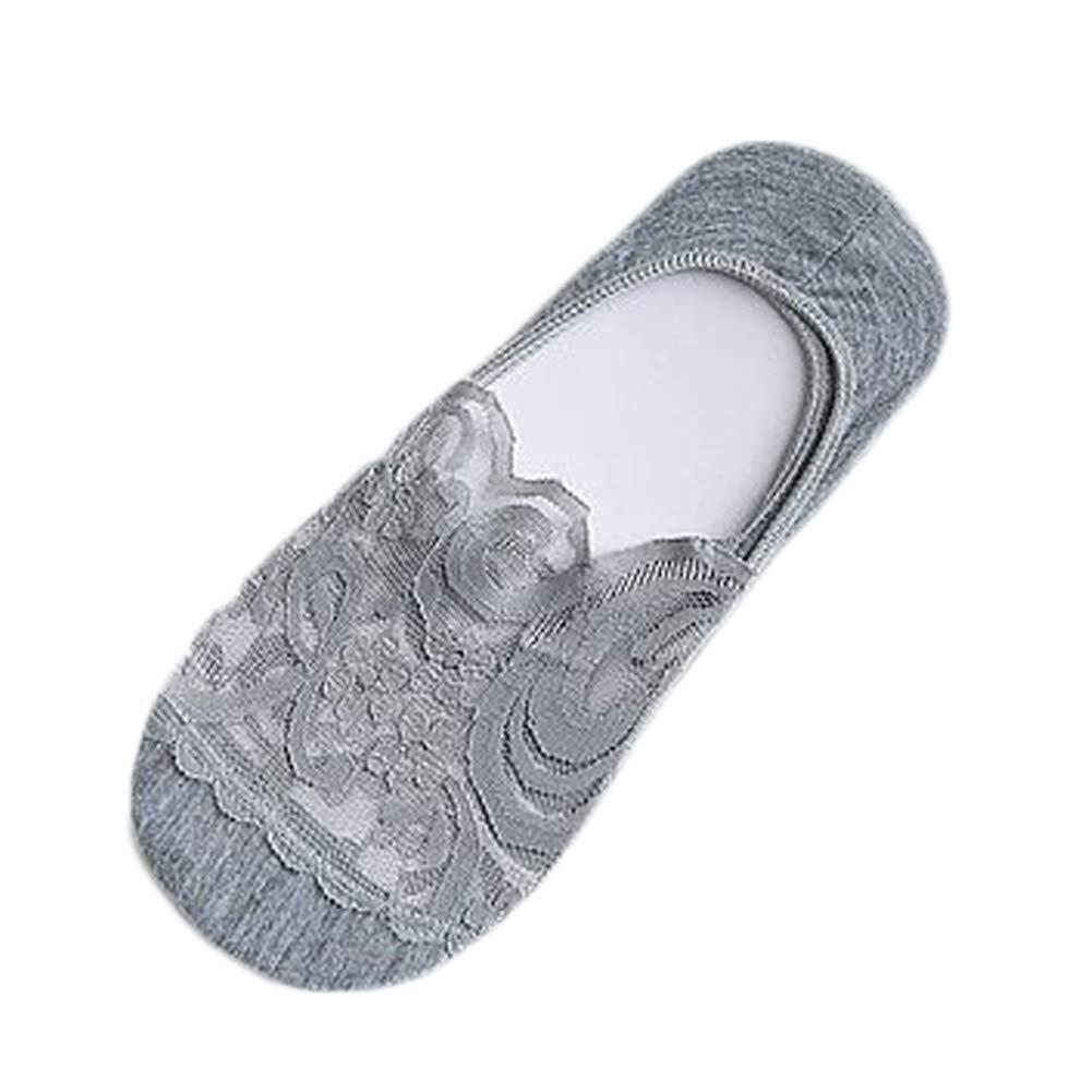 Weimay Pizzo calzini invisibili salvapiede con silicone sul tallone,calzini fantasmini traspiranti invisibili in cotone filo