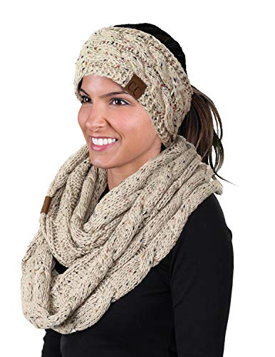(dHWS-6033-67 Headwrap Scarf Set Bundle - Oatmeal (Confetti))
