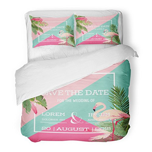 SanChic Duvet Cover Set Green Miami Tropical Flowers Flamingo Summer Exotic Floral in Aloha Banana Decorative Bedding Set 2 Pillow Shams King Size by SanChic
