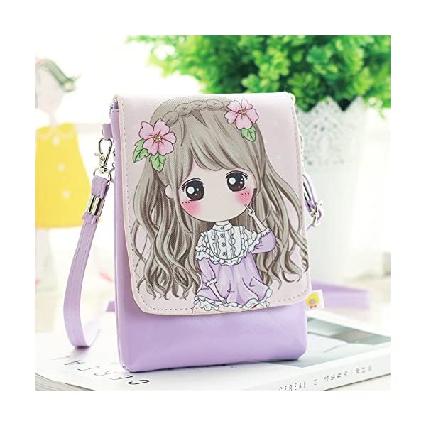 Kids Students Cartoon Mini Cross Body Bags Cell Phone Holder Case Purse Pouches