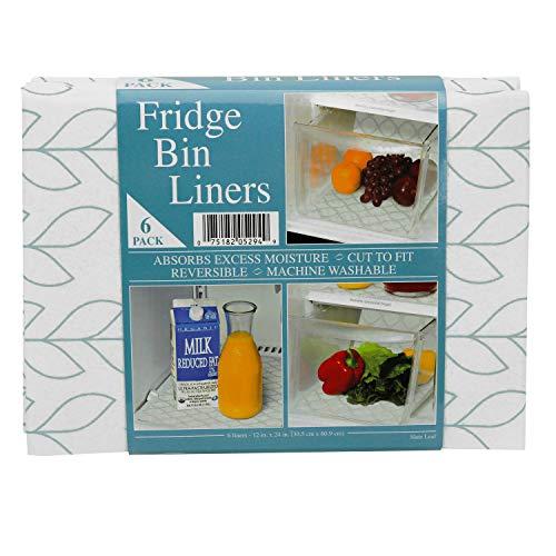 Envision Home 529401 Fridge Bin Liners - 12-Inch x 24-Inch - Slate Leaf Print, 6 Pack