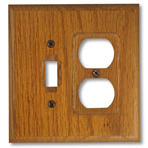 Amerelle 4008TD Traditional Solid Wall Plate 1 Toggle/1 Duplex Outlet, Red Oak