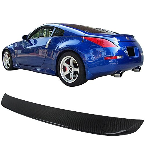 Trunk Spoiler Fits 2003-2008 Nissan 350Z Z33 | OE Style Carbon Fiber Rear Tail Lip Deck Boot Wing By IKON MOTORSPORTS | 2004 2005 2006 2007 (Fiber Carbon Oem 350z Nissan)