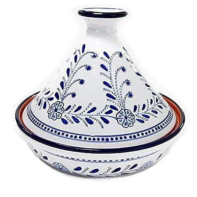 """Le Souk Ceramique Azoura Cookable Tagine, 12"""", Blue/White"""