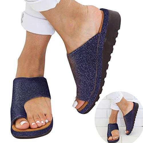 Women Comfy Platform Sandal Shining Slippers Shoes PU Leather Beach Travel Shoes Flats Wedges Open Toe Flip Flop Sandals (Blue, 8 M US) ()