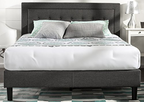 Zinus Upholstered Button Tufted Premium Platform Bed/Strong Wood Slat Support/Dark Grey, (Modern Style Platform)