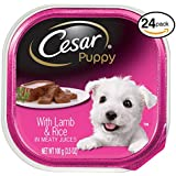 Cesar Canine Cuisine Puppy Wet Dog Food With Lamb And Rice, (Pack Of 24) 3.5 Oz. Trays