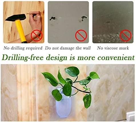 XINGKEJI Vase Tenture Murale en Silicone Amovible pour D/écorer des Plantes Fleur Autocollant Mural Ventouse Gadgets De Jardinage