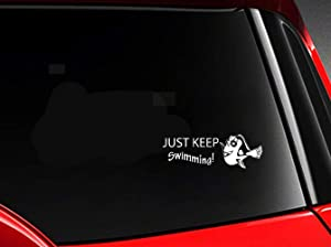Mukia 18.1Cmx6.1Cm Decal Car Sticker Finding Nemo Dory Just Keep Swimming Fish Decal for Car Laptop Window Sticker