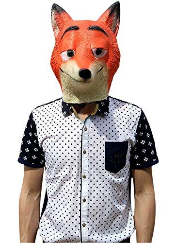 Fox Mask Latex, Realistic Funny Halloween Animal Costume Cosplay Headgear (A) (Realistic Fox Mask)