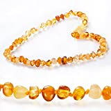 Baltic Amber Teething Necklace for Babies (Unisex)- Drooling Problem & Pain Reduce Properties. Nature Made - Highest Quality. (Amber-sl)