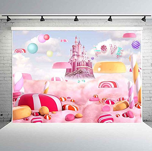 7x5ft Sweet Candy Backdrop Lollipops Fairy Tale Castle Photography Background Kids Theme Birthday Party Decoration Banner Backdrop GEPH005 PHMOJEN -
