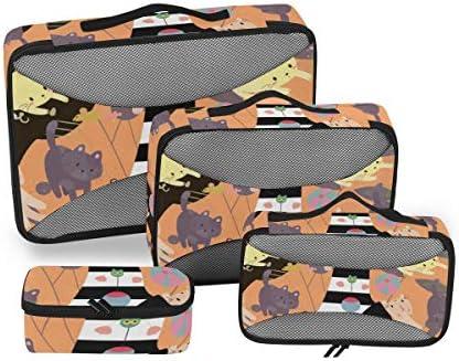 トラベル ポーチ 旅行用 収納ケース 4点セット トラベルポーチセット アレンジケース スーツケース整理 萌え かわいい 猫柄 ネコ ハイヒール 収納ポーチ 大容量 軽量 衣類 トイレタリーバッグ インナーバッグ