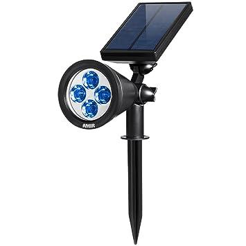 AMIR 2 In 1 Solar Spotlights, Upgraded Solar Garden Lights Outdoor,  Waterproof 4 LED