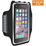 Sweat Resistant Armband Fits iPhone XS Max XR X 8 7 6/6s Plus PORTHOLIC Phone Running Sport Workout Case for Samsung Galaxy S9 + s8 s7 s6 Edge Note 8 5 LG G6 [Stretchy] Key Card Holder, 7-18 Inch Arm