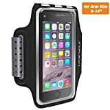 Sweat Resistant Armband for iPhone X 8 7 6 6s Plus, PORTHOLIC Phone Running Sport Workout Case for Samsung Galaxy S9 + s8 s7 s6 Edge, Note 8 5 LG G6 [Stretchy] Key and Card Holder, for 7-18 inch Arm