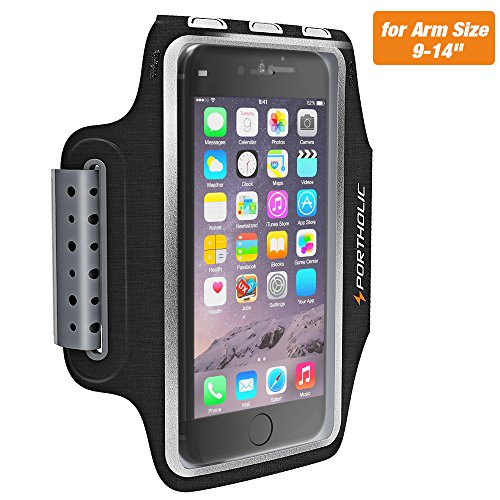 Sweat Resistant Armband Fits iPhone X 8 7 6 6s Plus, PORTHOLIC Phone Running Sport Workout Case for Samsung Galaxy S9 + s8 s7 s6 Edge, Note 8 5 LG G6 [Stretchy] Key/Card Holder, for 7-18 Inch Arm by PORTHOLIC