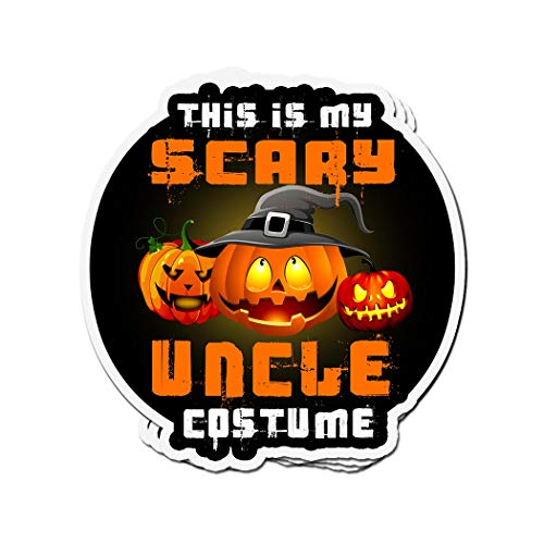 ViralTee 3 PCs Stickers This is My Scary Uncle Costume Pumpkin Halloween Tee 4 × 3 Inch Die-Cut Decals]()