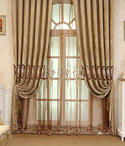 European Style Hollow Classic Pattern Embroidery Curtain Window Treatment Rod Pocket Panel Drape Bedroom Living Room Kids Room(1 Panel, W 50 x L 63 inch, Brown) (Cortina De Ba??o)