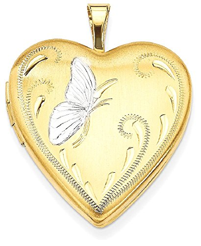 Gold Filled Butterfly 19mm Heart Photo Pendant Charm Locket Chain