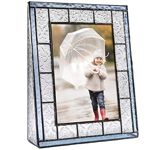J Devlin Pic 159-57V Blue Stained Glass Picture Frame Tabletop 5 x 7 Vertical Photo ()