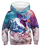 PIZOFF Unicorn Sloth Pizza Hoodie for Girls 3D Print Graphic Pullover Hoodie Sweatshirts Pocket for 3-14T