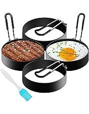 Äggring, 4 stycken pannkakor i rostfritt stål, 7,6 cm runda stekta äggformer nonstick, för stekt ägg, pannkakor, omeletter