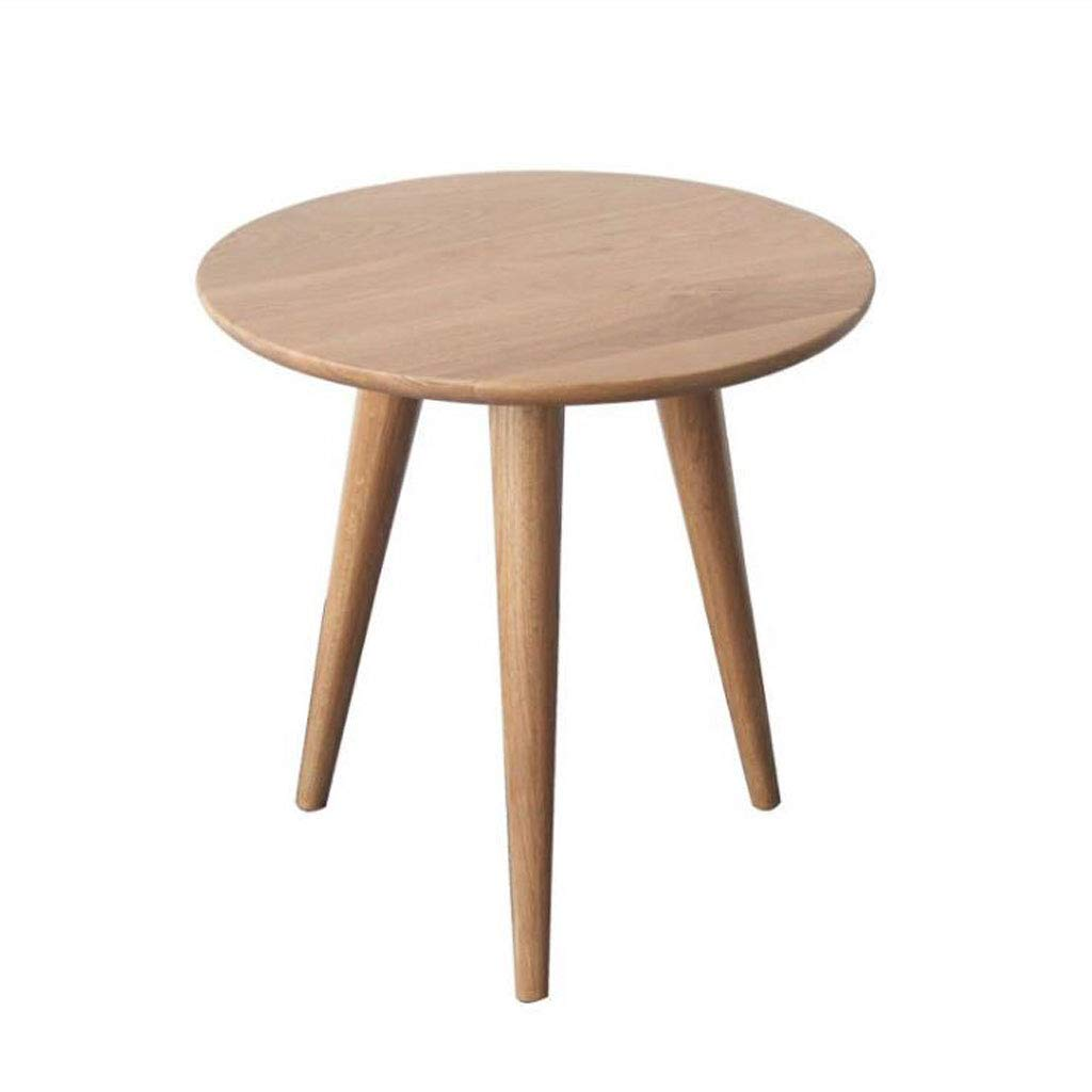 600650 T-Day End Tables Bedside Table Side Table European Solid Wood Simple Coffee Table White Oak Small Round Tea Table Leisure Balcony Round Coffee Table (Size   600  650)