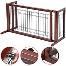 Wood Pet Gate Fence Playpen Adjustable Indoor Solid Standing Round Wide by Phumon567