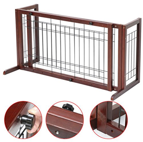 Wood Pet Gate Fence Playpen Adjustable Indoor Solid - Expanding Tension Mount Gate