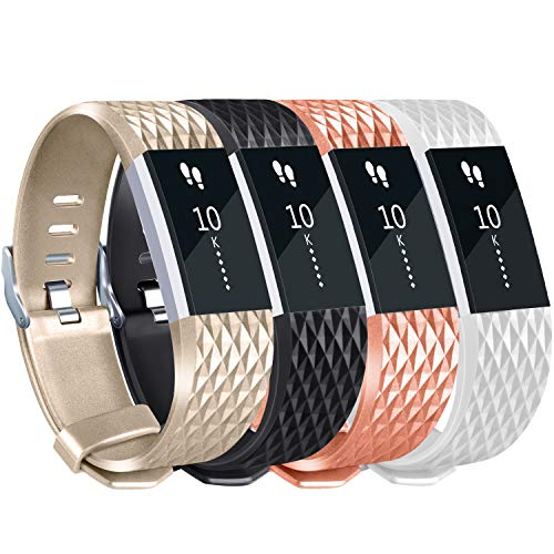 Tobfit for Fitbit Charge 2 Bands (4 Pack), Special Edition, Champagne Gold, Rose Gold, Black, White, Small