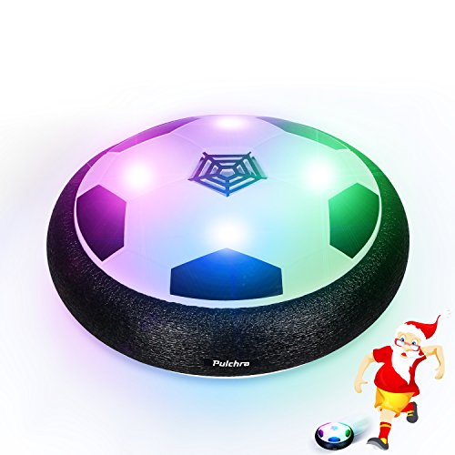 Pulchra Air Soccer (LED Lights & Foam Bumpers Built in) Electronic Power Hover Soccers Disc for Kids Sports Toys Gifts Indoor & Outdoor Training Game Ball (Black, Diameter: 18cm)