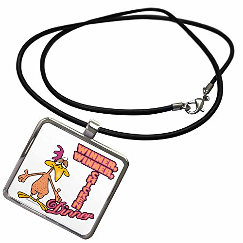 Dinner Claw - 3dRose Dooni Designs Random Toons - Winner Winner Chicken Dinner Humor Cartoon - Necklace With Rectangle Pendant (ncl_104454_1)