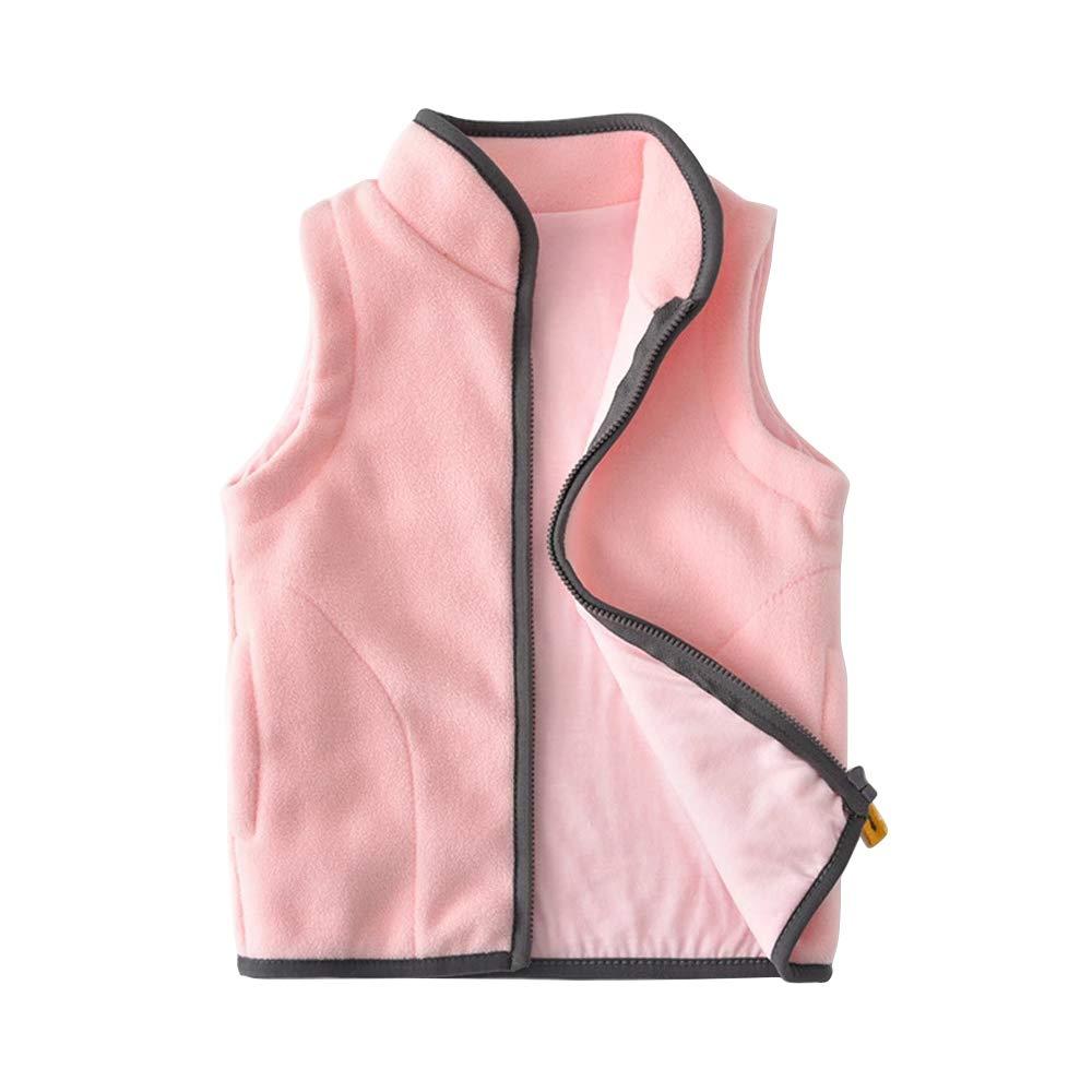 OCHENTA Boys' Soft Fleece Lightweight Vest Zipper Up Waistcoat Outerwear Nude Pink Tag 100-3T