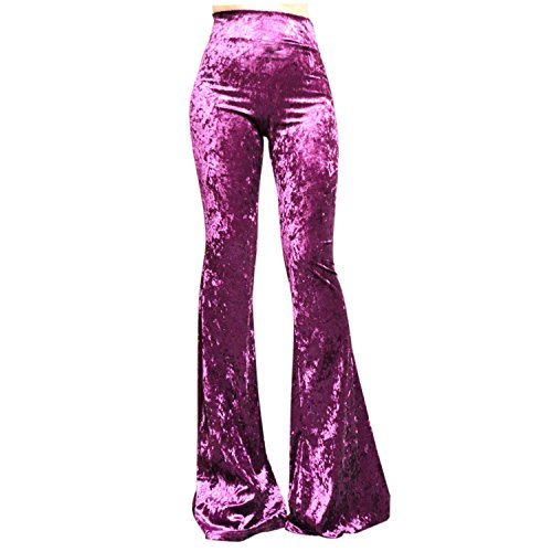 (ShopMyTrend SMT Women's High Waist Wide Leg Long Bell Bottom Yoga Pants Medium Velvet Purple)