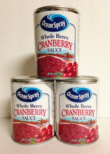 Ocean Spray Whole Berry Cranberry Sauce 14 oz (Pack of 3) Whole Cranberries