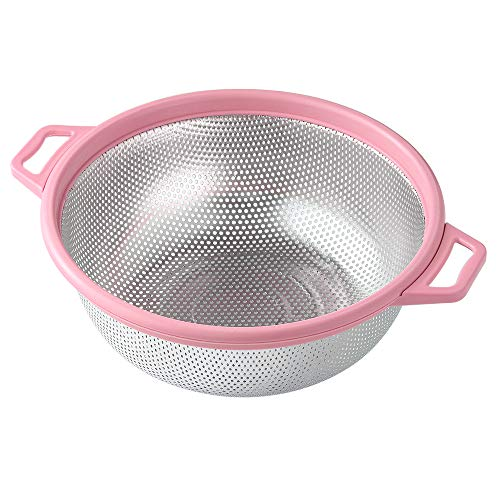 "Stainless Steel Colander With Handle and Legs, Large Metal Pink Strainer for Pasta, Spaghetti, Berry, Veggies, Fruits, Noodles, Salads, 5-quart 10.5"" Kitchen Food Mesh Colander, Dishwasher Safe ()"