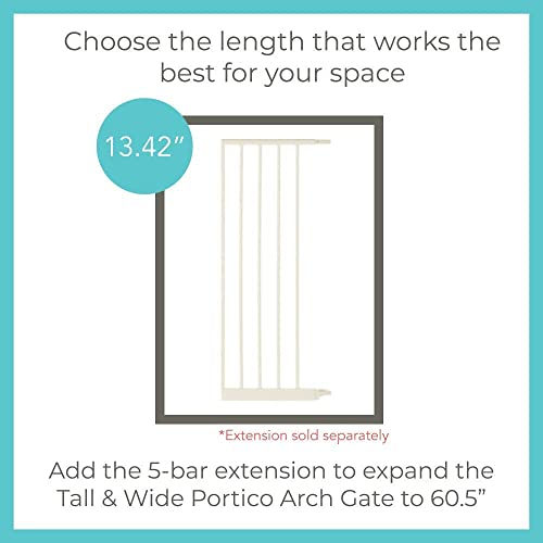 Toddleroo by North States 5 Bar Extension for Tall Wide Portico Arch Baby Gate Adjust your gate to fit a space up to 60.5 wide with extension. No tools required. Adds 13.42 width, Soft White