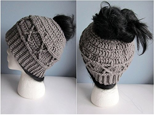 Messy Bun Hat - Crochet Pony Tail Hat - Knit Bun Beanie - Running Hat - Messy Bun Beanie - Cable Stitch Messy Bun Hat - Gray Gray Cable Bun Hat