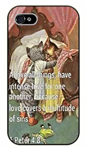 iPhone 5C Bible Verse - Kittens. Above all things have intense love for one another. Peter 4:8 - black plastic case / Verses, Inspirational and Motivational
