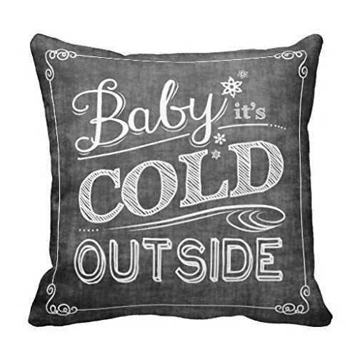 JSBStore Baby It's Cold Outside Chalkboard Snowflake Pillow Case Cushion Cover Home Sofa Decorative 18 X 18 Squares Gift Choice by JSBStore
