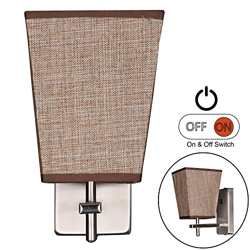 Facon LED RV Fabric Light Fixture with Flared Wall Sconce Shade, Wall Mount LED Decor Lamp Bedside Reading Light with Switch, 12V DC Interior Light for RV Motorhome Camper Trailer (Square Wall Sconce) (Size For Bedside Lamps Proper)