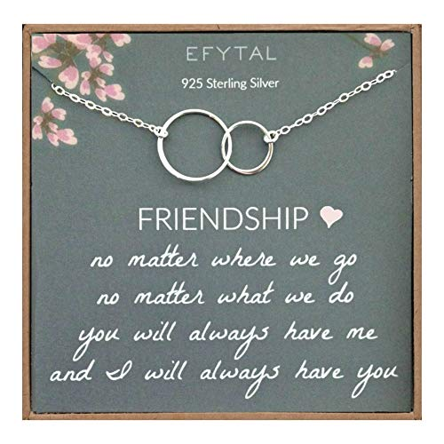 (EFYTAL Best Friend Gifts Necklace, Sterling Silver Interlocking Circles, Bridesmaid Gift, Friendship Jewelry                              )