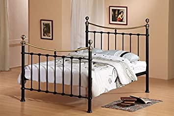 victorian 4ft6 double elizabeth antique black brass metal bed frame free delivery