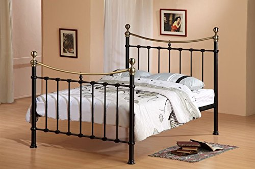 Victorian 4ft6 Double Elizabeth Antique Black Brass Metal Bed Frame