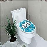 Toilet Sticker 3D Print Design,Nautical Decor,Sea Theme Doodle Nostalgia Sailboat Seaman Adventurous Travels Lifestyle Decorative,for Young Mens,W12.6