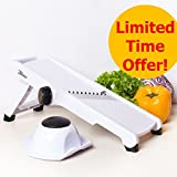 3Haus Adjustable White Professional Mandoline Slicer- Vegetable Slicer- Food Slicer- Julienne Cutter Mandolin Stainless Steel Plastic with Finger Guard -