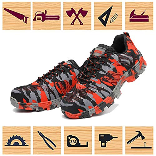 Jackshibo Toe Shoes Industrial Steel Safety Construction Shoes hiking Shoes Womens Footwear Breathable Mens Outdoor Work Red RIqRr8