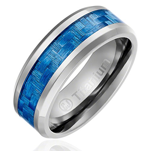 8MM Comfort Fit Titanium Wedding Band | Engagement Ring with Light Blue Carbon Fiber Inlay | Beveled Edges [Size 10.5] - Edge Titanium Ring